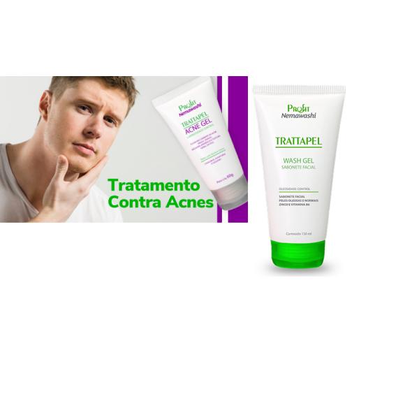 Kit Trattapel Wash Gel Sabonete Gel Acne Facial, Peles Oleosas e Normais Profit Nemawashi